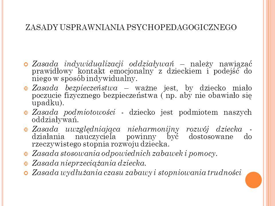 ZASADY USPRAWNIANIA PSYCHOPEDAGOGICZNEGO