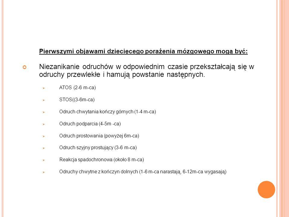 OBJAWY: Pierwszymi objawami dziecięcego porażenia mózgowego mogą być:
