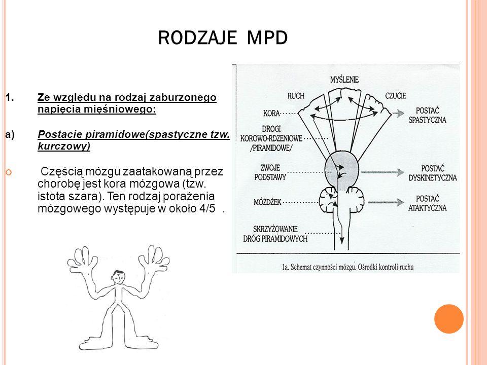 RODZAJE MPD 1. Ze względu na rodzaj zaburzonego napięcia mięśniowego: a) Postacie piramidowe(spastyczne tzw. kurczowy)
