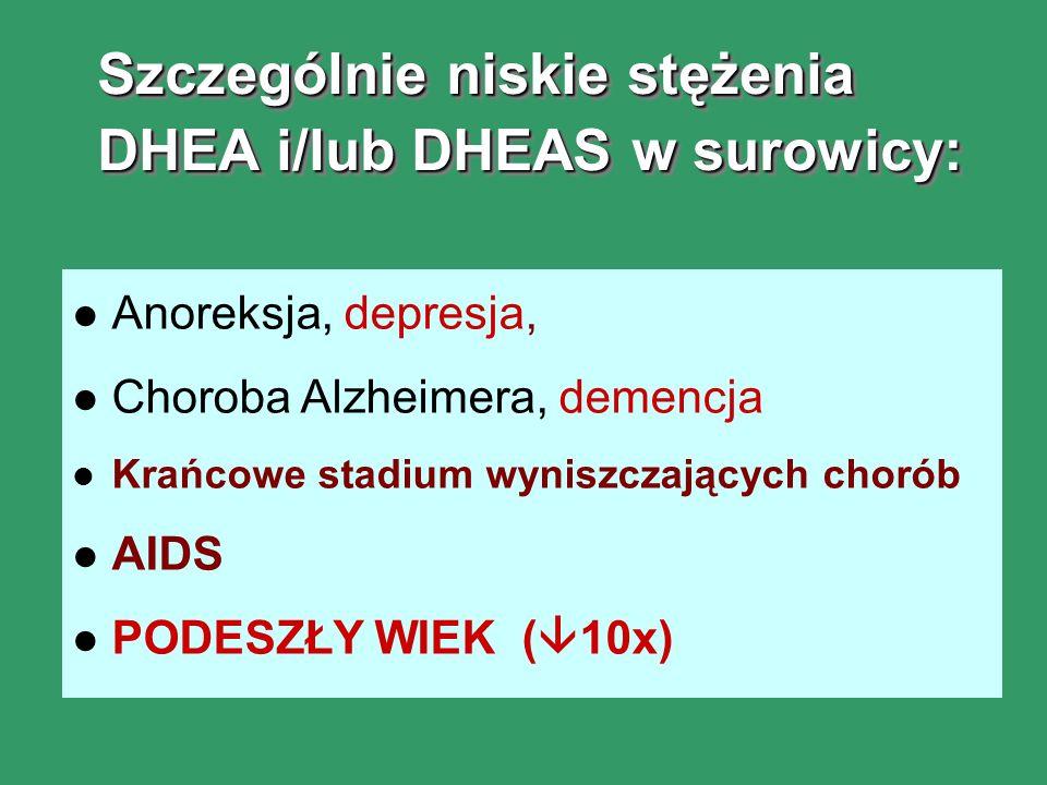 Szczególnie niskie stężenia DHEA i/lub DHEAS w surowicy: