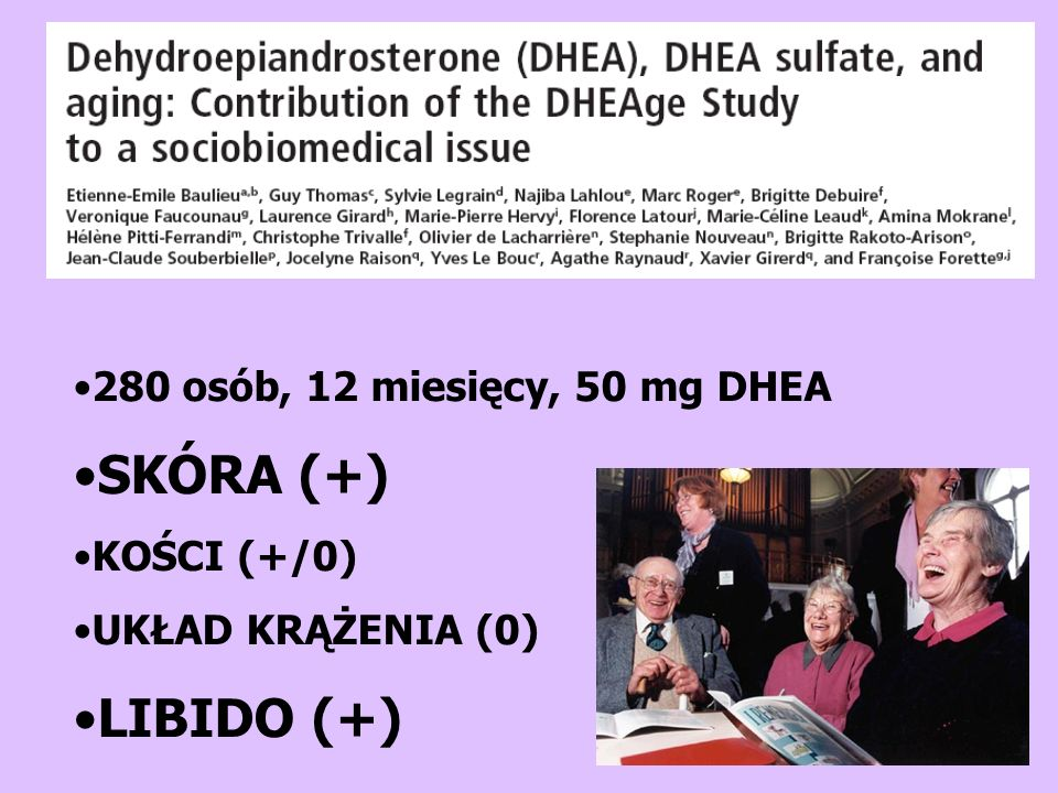 SKÓRA (+) LIBIDO (+) 280 osób, 12 miesięcy, 50 mg DHEA KOŚCI (+/0)