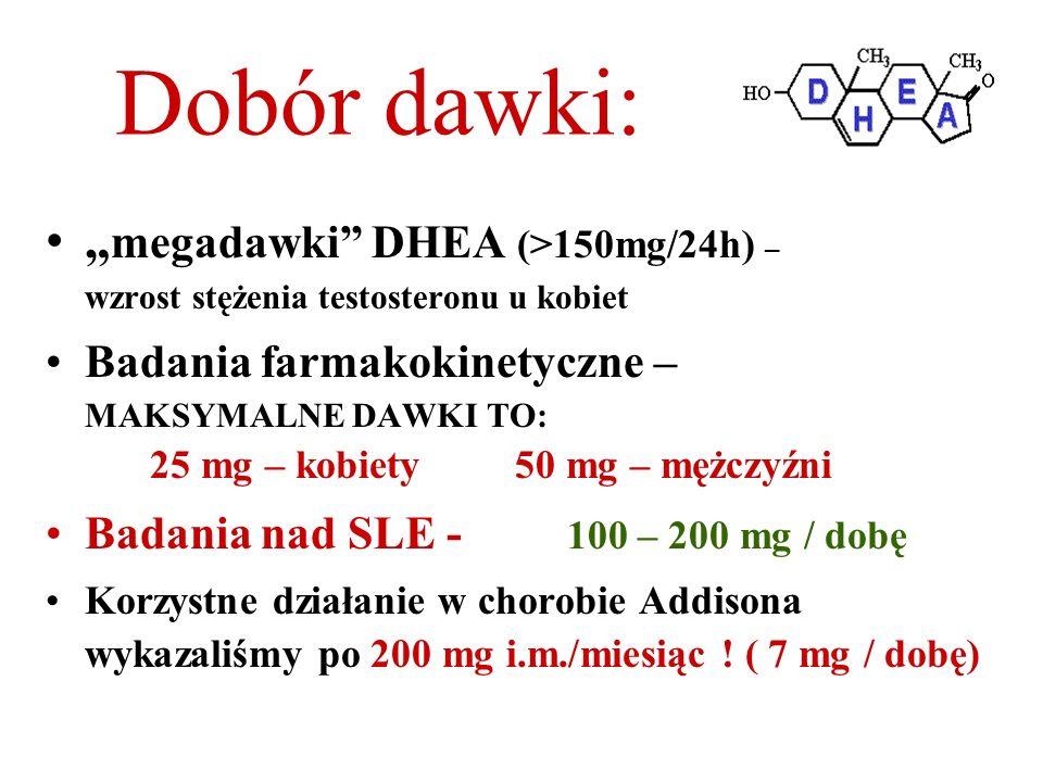 """Dobór dawki: """"megadawki DHEA (>150mg/24h) – wzrost stężenia testosteronu u kobiet."""