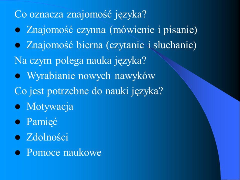 Co oznacza znajomość języka