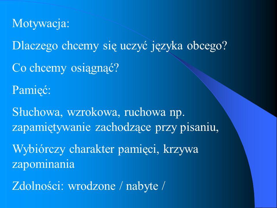 Motywacja: Dlaczego chcemy się uczyć języka obcego Co chcemy osiągnąć Pamięć: