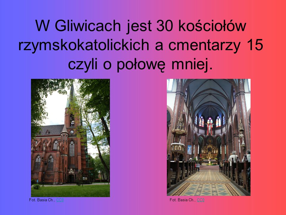 W Gliwicach jest 30 kościołów rzymskokatolickich a cmentarzy 15 czyli o połowę mniej.