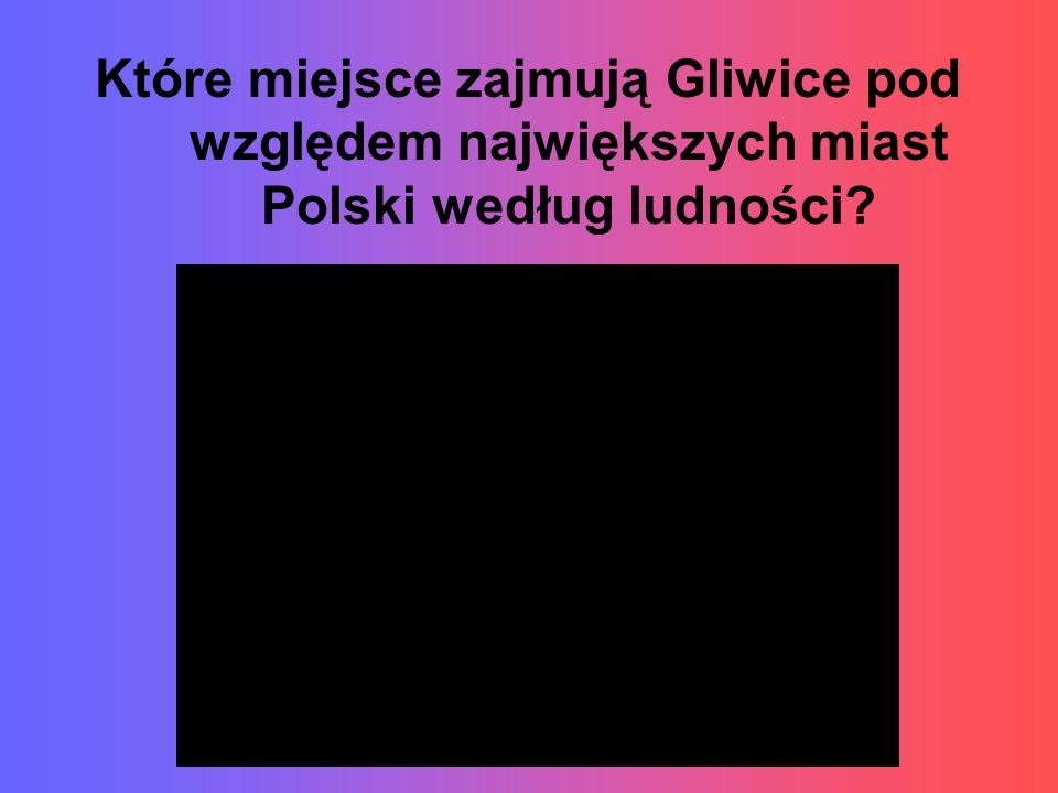 Które miejsce zajmują Gliwice pod względem największych miast Polski według ludności