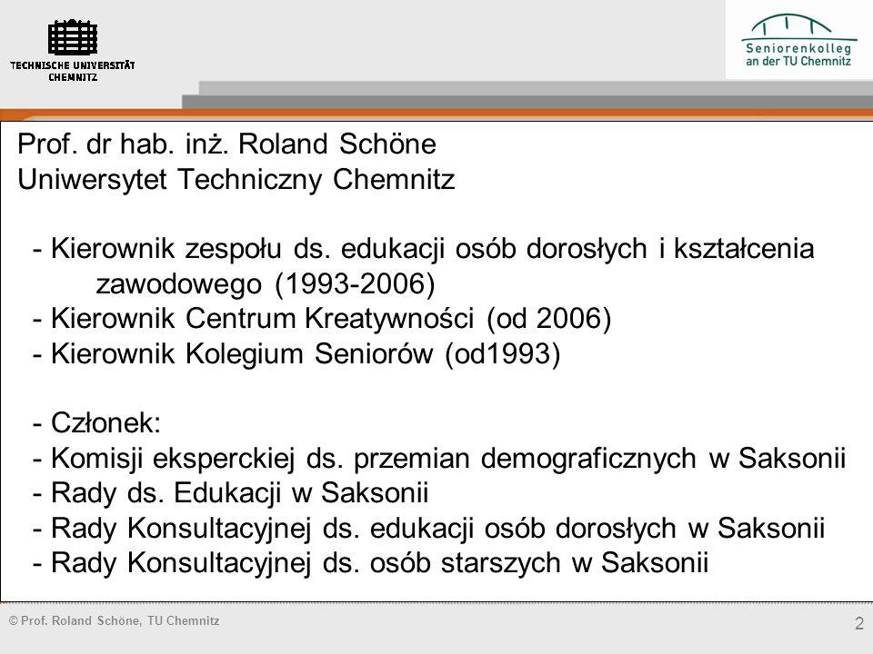 Prof.dr hab. inż. Roland Schöne Uniwersytet Techniczny Chemnitz - Kierownik zespołu ds.