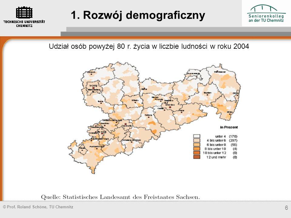 Udział osób powyżej 80 r. życia w liczbie ludności w roku 2004