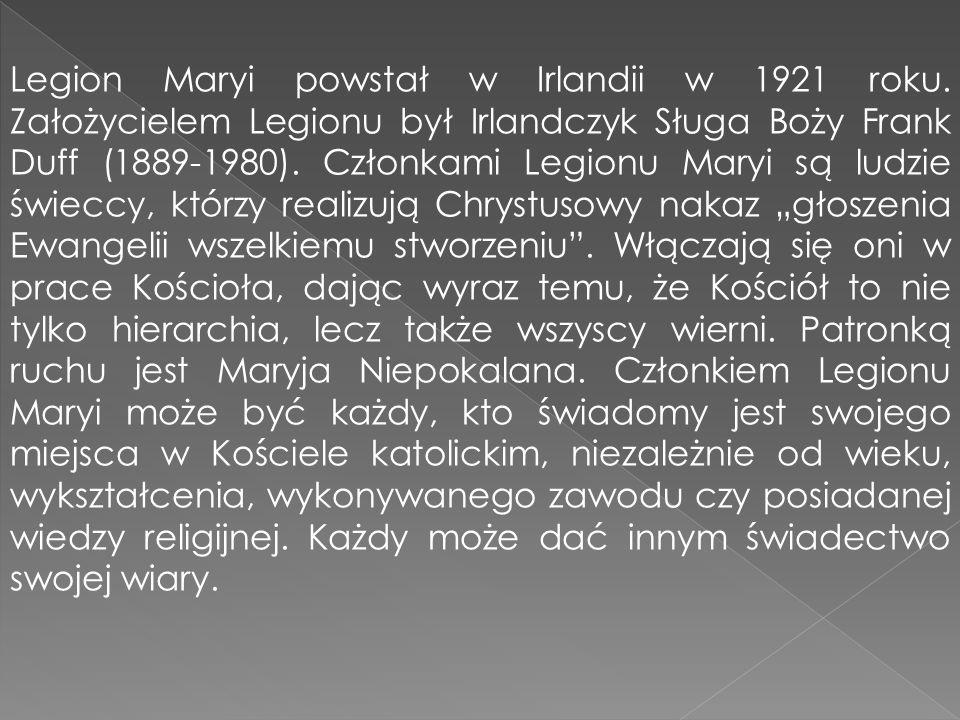 Legion Maryi powstał w Irlandii w 1921 roku