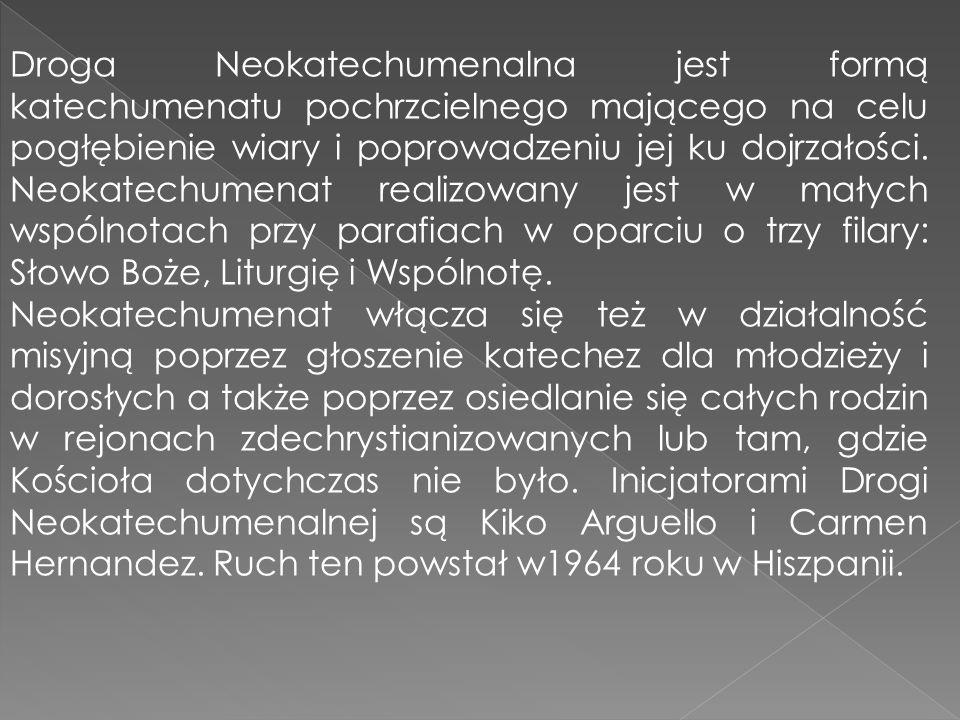 Droga Neokatechumenalna jest formą katechumenatu pochrzcielnego mającego na celu pogłębienie wiary i poprowadzeniu jej ku dojrzałości. Neokatechumenat realizowany jest w małych wspólnotach przy parafiach w oparciu o trzy filary: Słowo Boże, Liturgię i Wspólnotę.