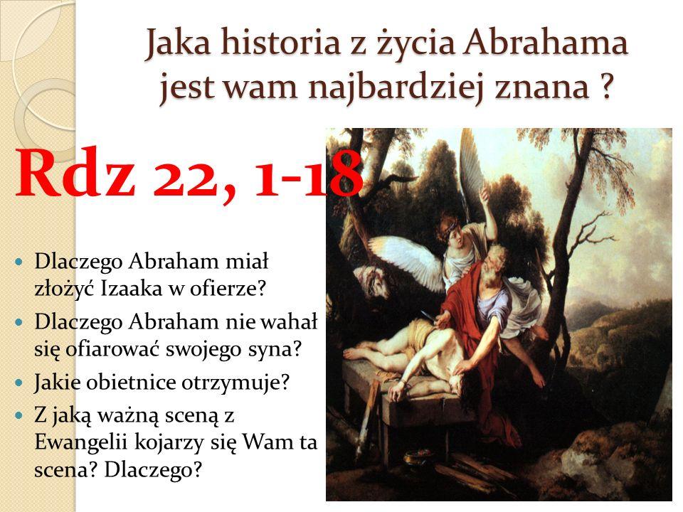 Jaka historia z życia Abrahama jest wam najbardziej znana