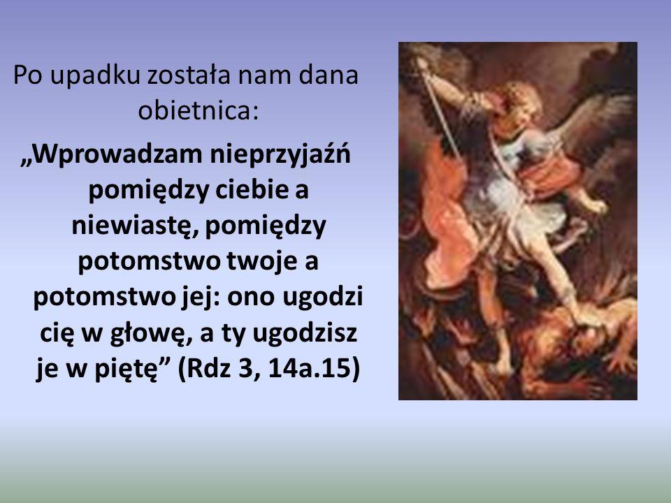 """Po upadku została nam dana obietnica: """"Wprowadzam nieprzyjaźń pomiędzy ciebie a niewiastę, pomiędzy potomstwo twoje a potomstwo jej: ono ugodzi cię w głowę, a ty ugodzisz je w piętę (Rdz 3, 14a.15)"""