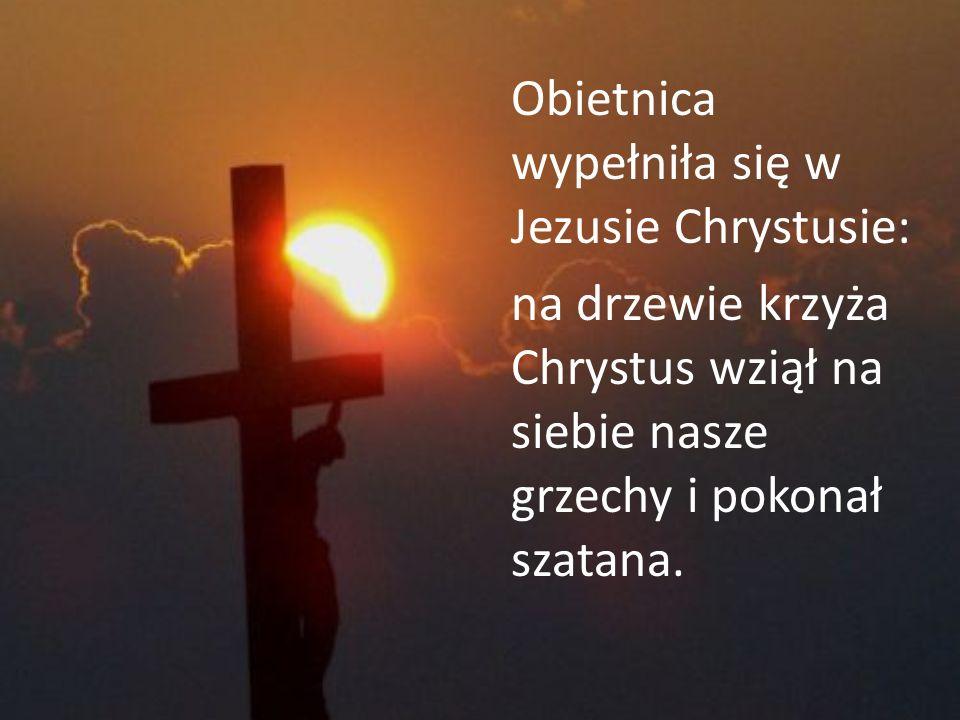 Obietnica wypełniła się w Jezusie Chrystusie: na drzewie krzyża Chrystus wziął na siebie nasze grzechy i pokonał szatana.