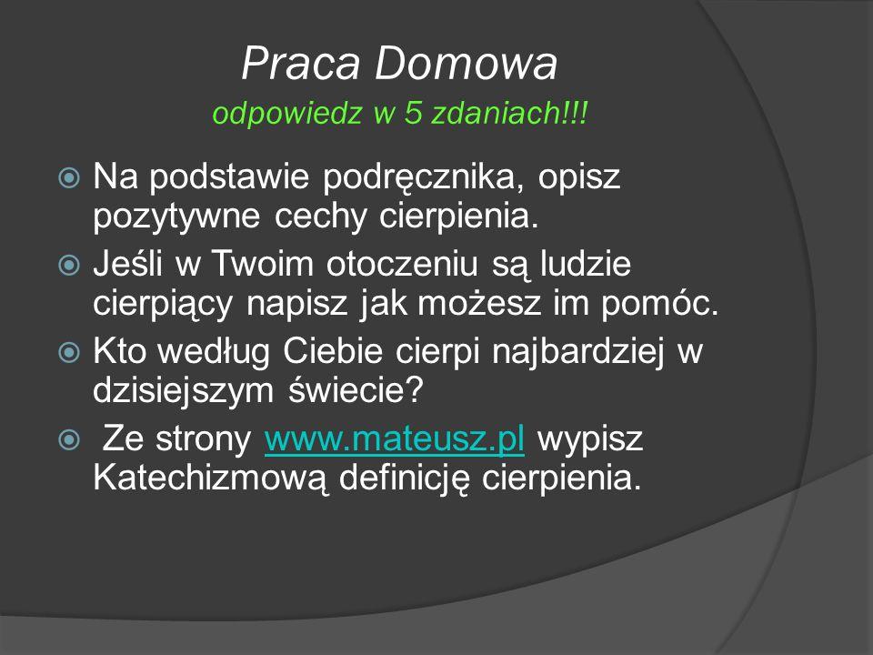 Praca Domowa odpowiedz w 5 zdaniach!!!
