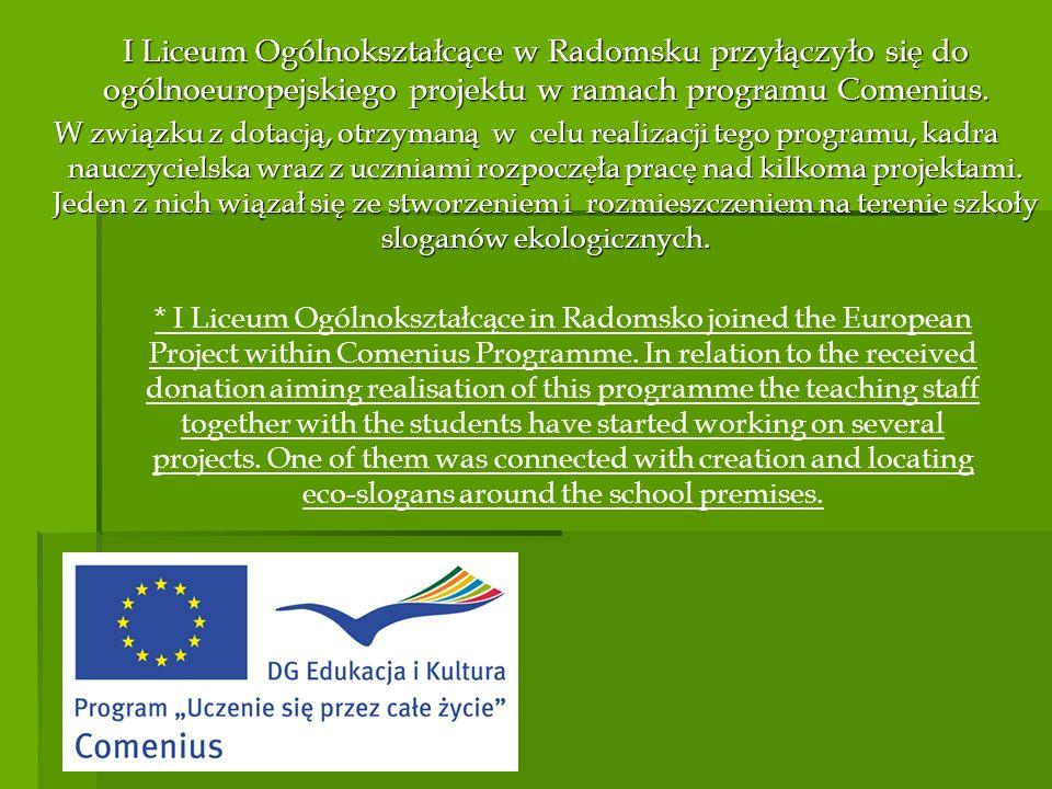 I Liceum Ogólnokształcące w Radomsku przyłączyło się do ogólnoeuropejskiego projektu w ramach programu Comenius.