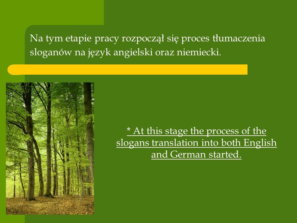 Na tym etapie pracy rozpoczął się proces tłumaczenia sloganów na język angielski oraz niemiecki.