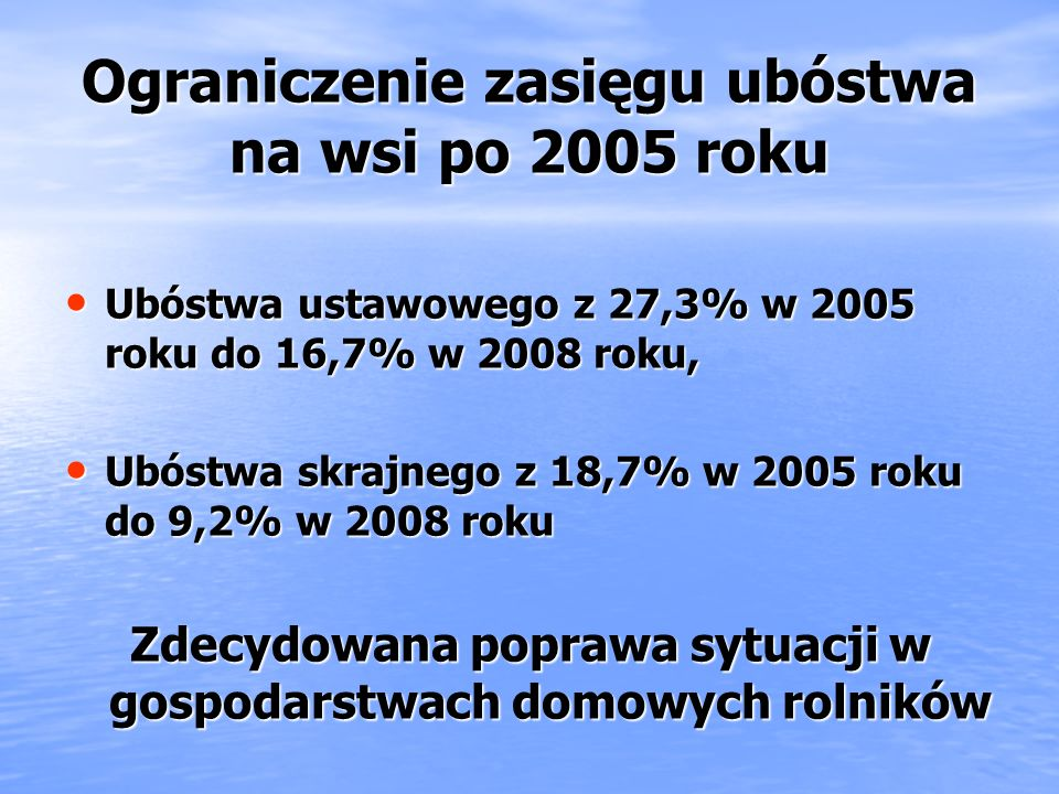 Ograniczenie zasięgu ubóstwa na wsi po 2005 roku