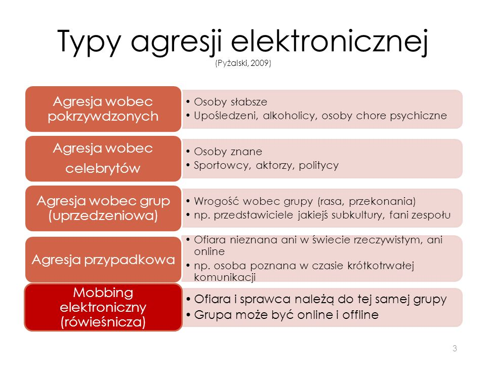 Typy agresji elektronicznej (Pyżalski, 2009)
