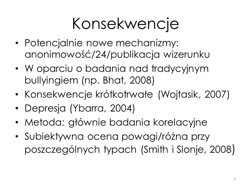 KonsekwencjePotencjalnie nowe mechanizmy: anonimowość/24/publikacja wizerunku. W oparciu o badania nad tradycyjnym bullyingiem (np. Bhat, 2008)