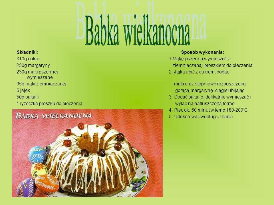 Babka wielkanocna Składniki: Sposób wykonania: