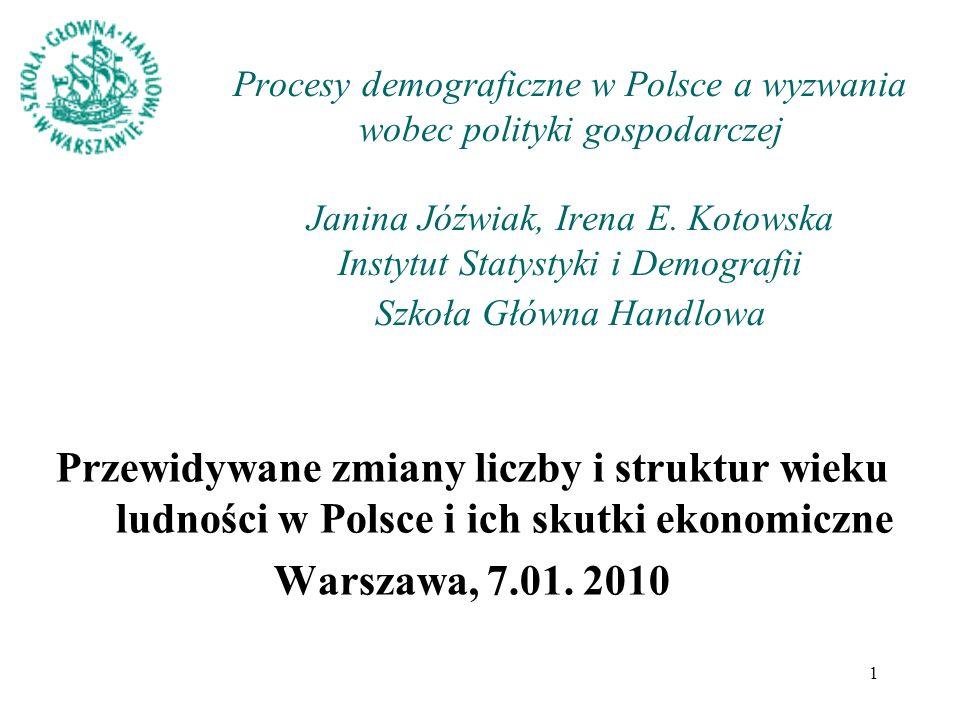 Procesy demograficzne w Polsce a wyzwania wobec polityki gospodarczej Janina Jóźwiak, Irena E. Kotowska Instytut Statystyki i Demografii Szkoła Główna Handlowa