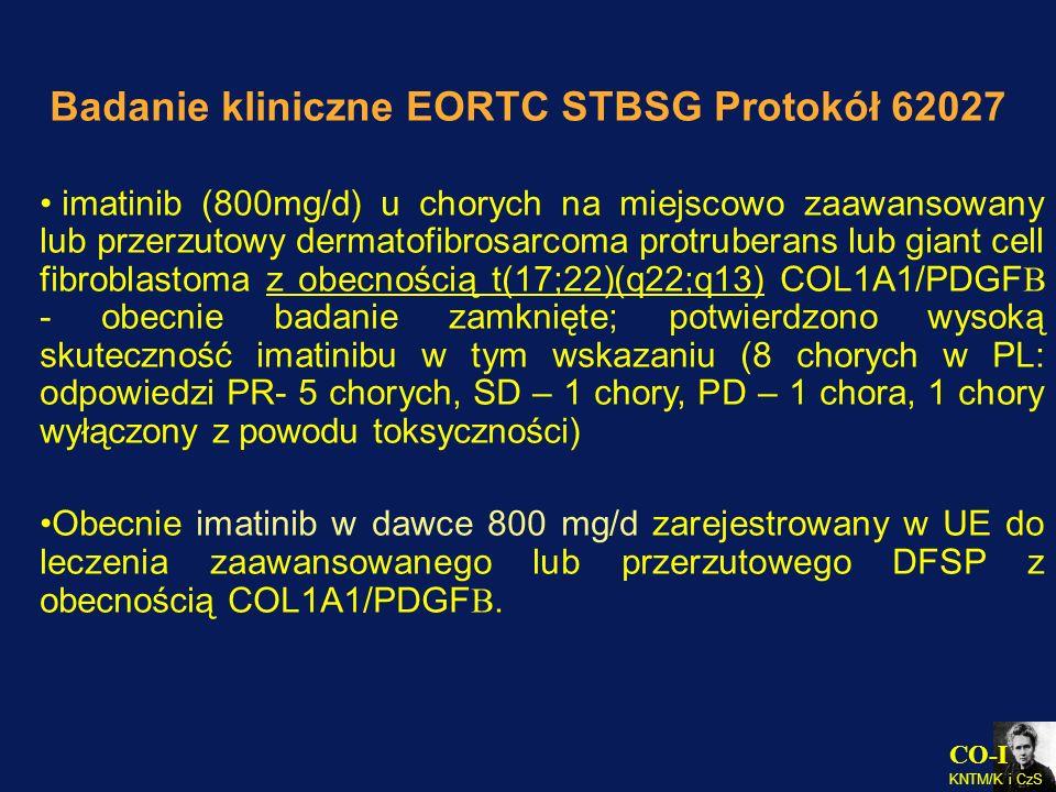 Badanie kliniczne EORTC STBSG Protokół 62027