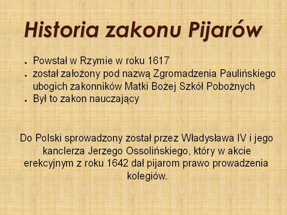 Historia zakonu Pijarów
