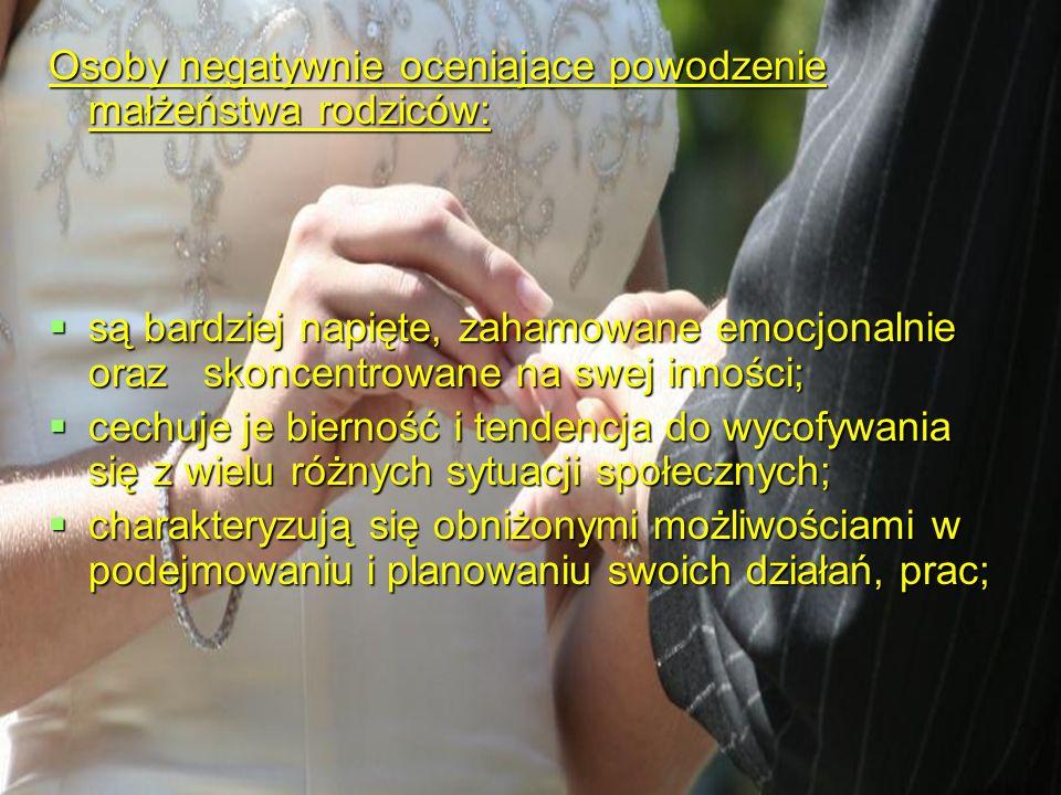 Osoby negatywnie oceniające powodzenie małżeństwa rodziców: