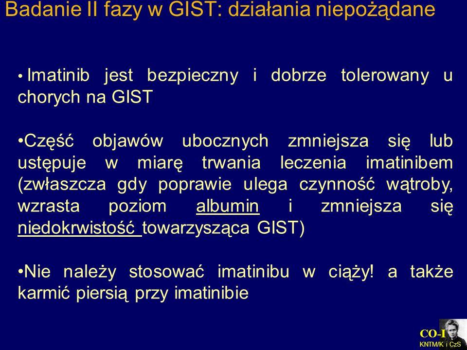 Badanie II fazy w GIST: działania niepożądane