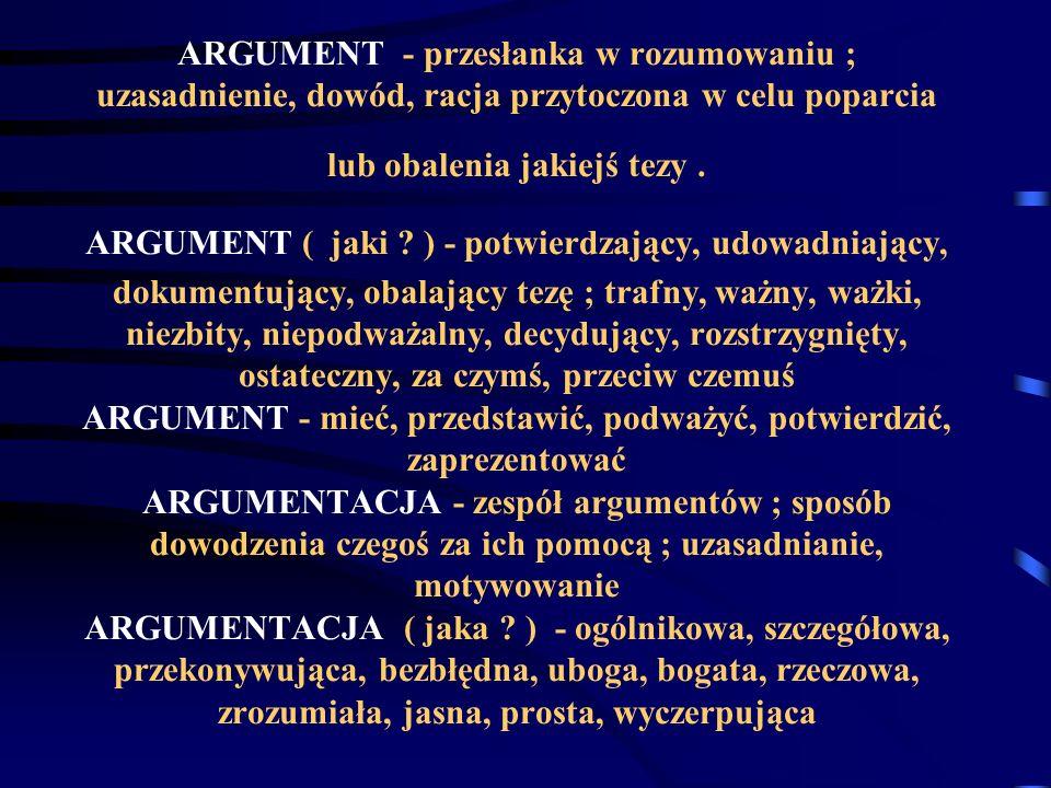 ARGUMENT - przesłanka w rozumowaniu ; uzasadnienie, dowód, racja przytoczona w celu poparcia lub obalenia jakiejś tezy .