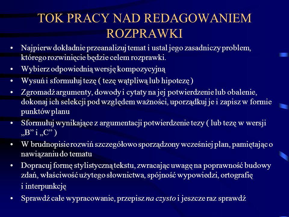 TOK PRACY NAD REDAGOWANIEM ROZPRAWKI