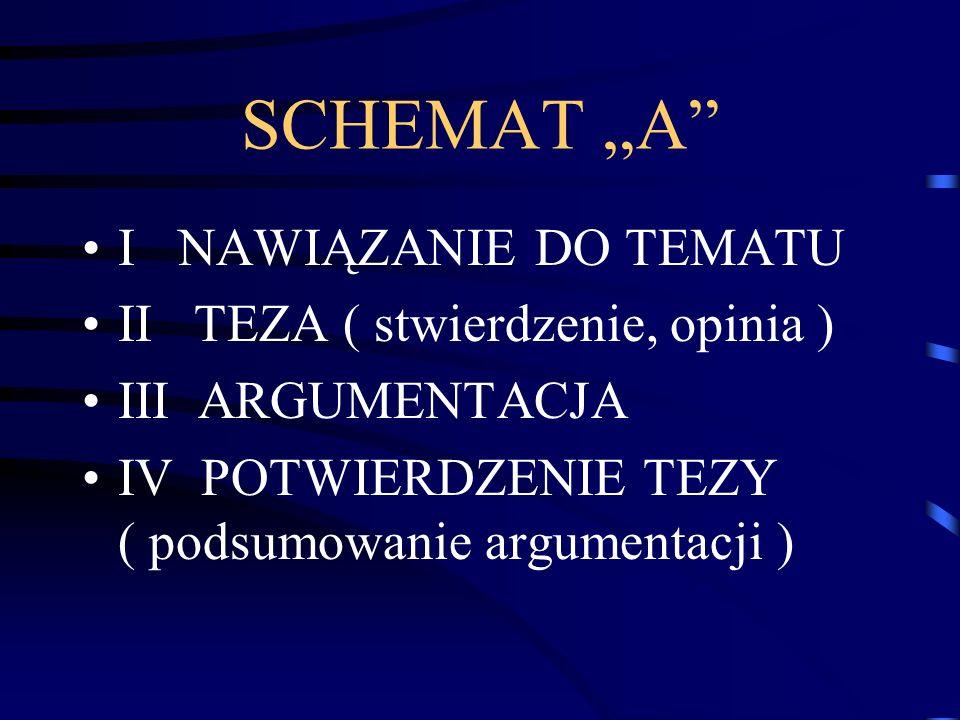 """SCHEMAT """"A I NAWIĄZANIE DO TEMATU II TEZA ( stwierdzenie, opinia )"""