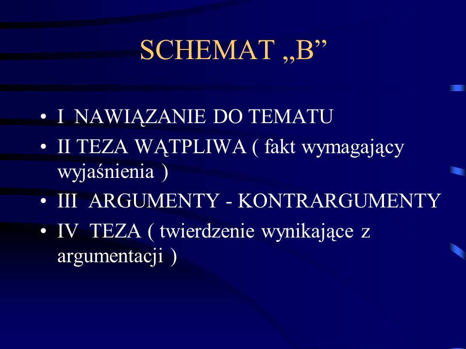 """SCHEMAT """"B I NAWIĄZANIE DO TEMATU"""
