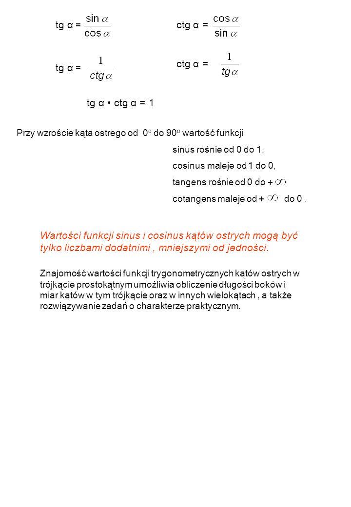 tg α = ctg α = ctg α = tg α = tg α • ctg α = 1