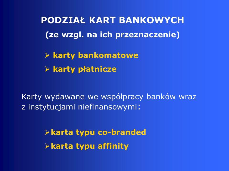 PODZIAŁ KART BANKOWYCH (ze wzgl. na ich przeznaczenie)