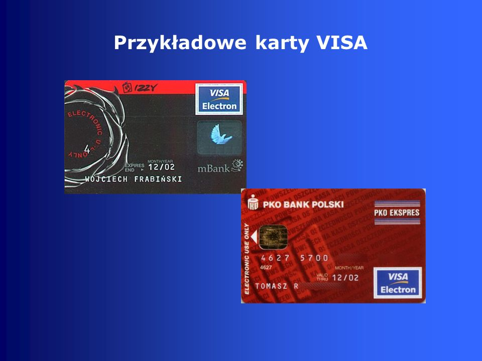 Przykładowe karty VISA