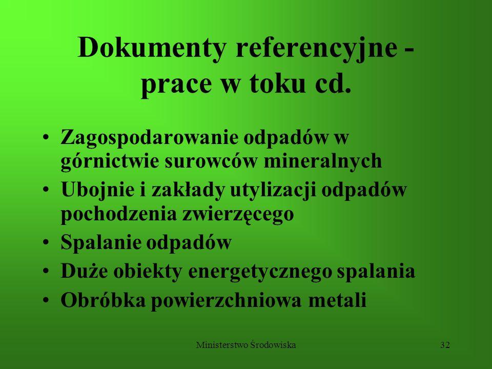 Dokumenty referencyjne - prace w toku cd.