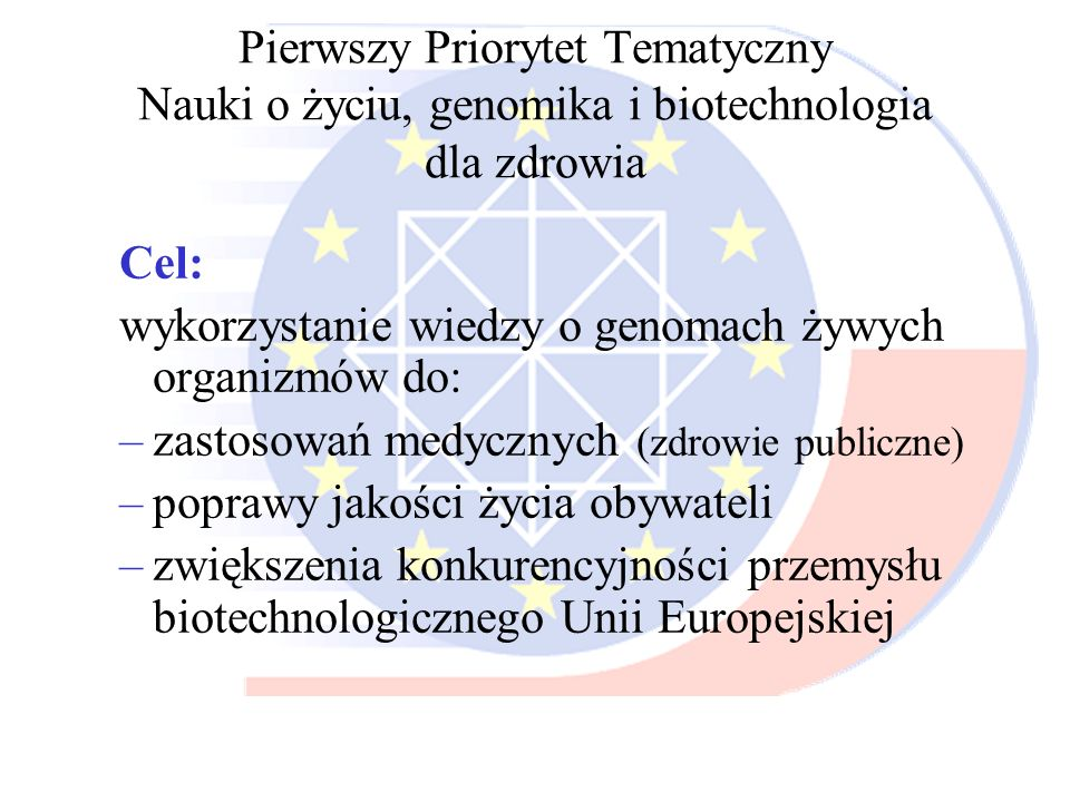 Pierwszy Priorytet Tematyczny Nauki o życiu, genomika i biotechnologia dla zdrowia