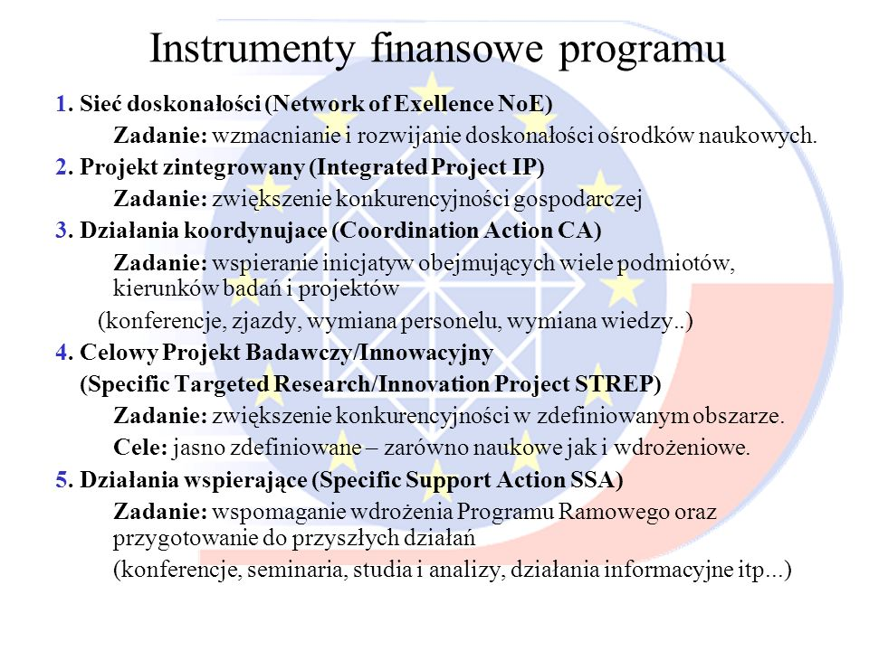 Instrumenty finansowe programu