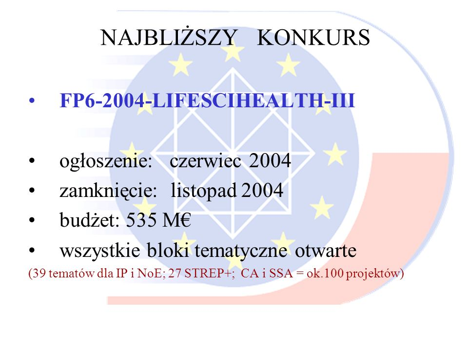 NAJBLIŻSZY KONKURS FP6-2004-LIFESCIHEALTH-III