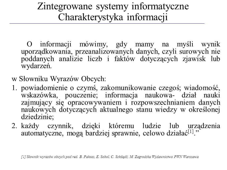 Zintegrowane systemy informatyczne Charakterystyka informacji