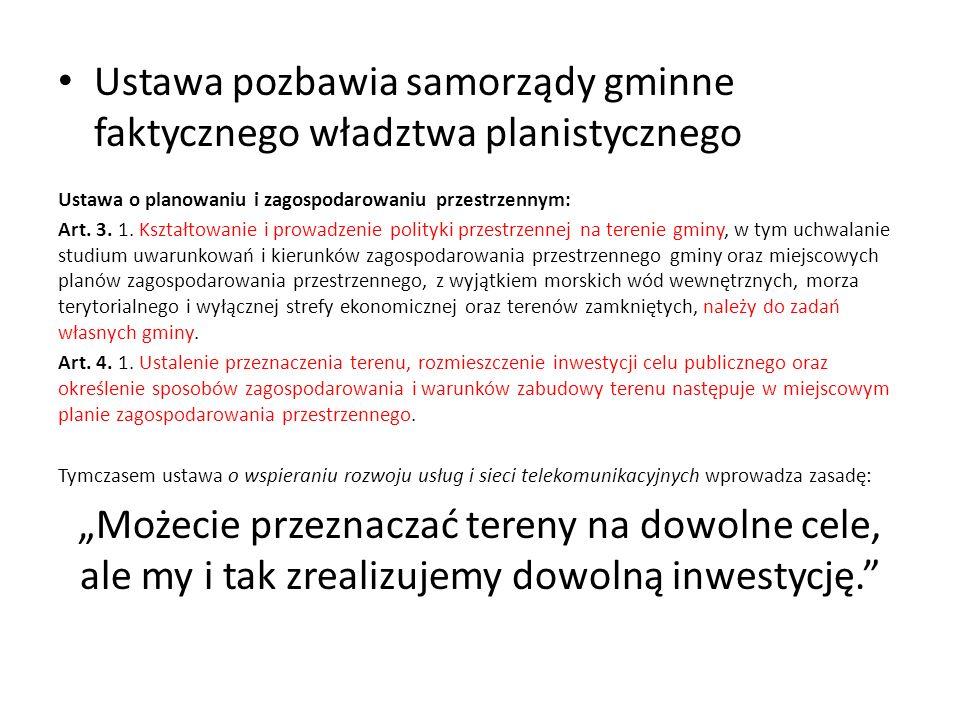 Ustawa pozbawia samorządy gminne faktycznego władztwa planistycznego