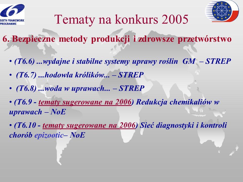 Tematy na konkurs 2005 6. Bezpieczne metody produkcji i zdrowsze przetwórstwo. (T6.6) ...wydajne i stabilne systemy uprawy roślin GM – STREP.