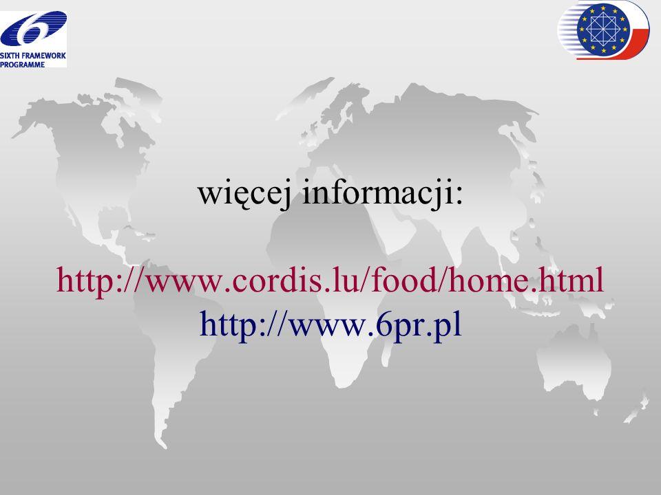 więcej informacji: http://www. cordis. lu/food/home. html http://www