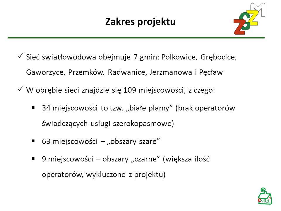 Zakres projektu Sieć światłowodowa obejmuje 7 gmin: Polkowice, Grębocice, Gaworzyce, Przemków, Radwanice, Jerzmanowa i Pęcław.