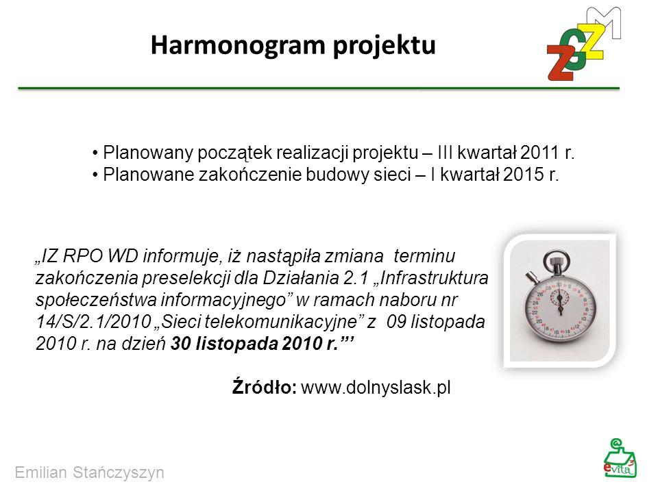 Harmonogram projektuPlanowany początek realizacji projektu – III kwartał 2011 r. Planowane zakończenie budowy sieci – I kwartał 2015 r.
