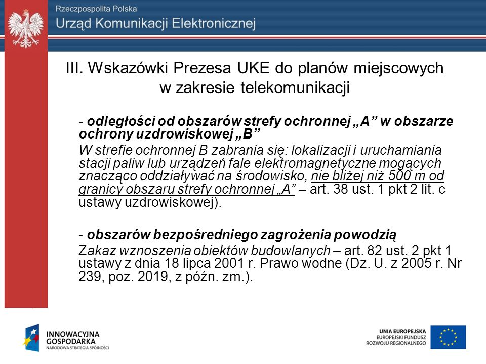 III. Wskazówki Prezesa UKE do planów miejscowych w zakresie telekomunikacji
