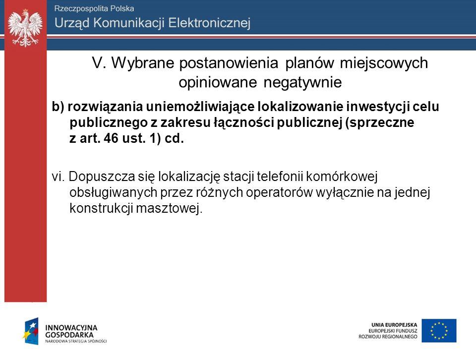 V. Wybrane postanowienia planów miejscowych opiniowane negatywnie