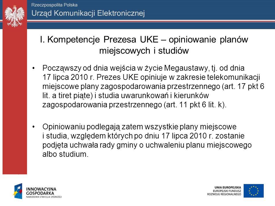 I. Kompetencje Prezesa UKE – opiniowanie planów miejscowych i studiów