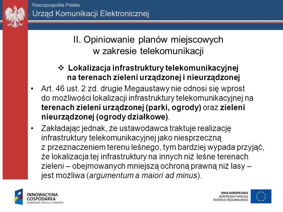 II. Opiniowanie planów miejscowych w zakresie telekomunikacji